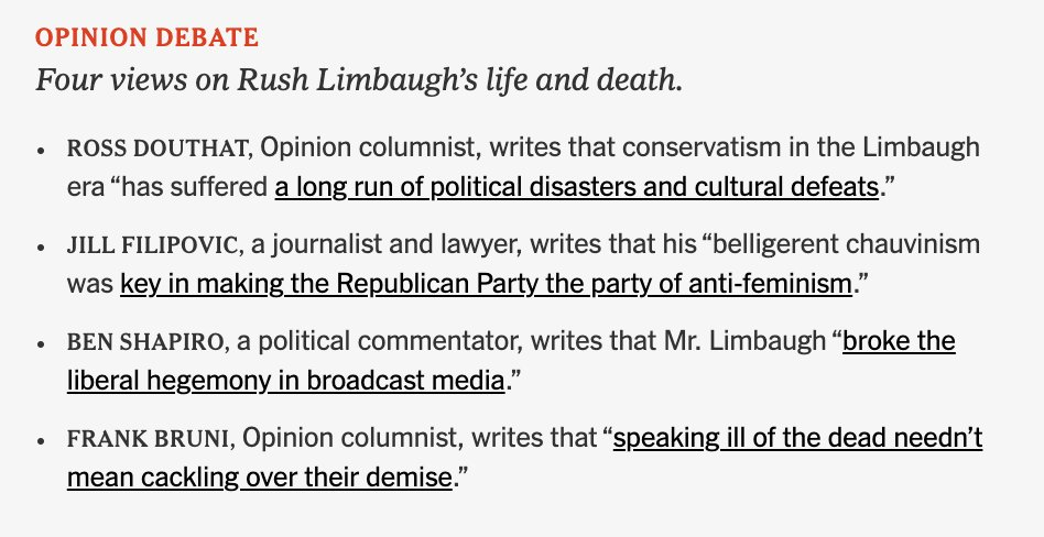 """The full spectrum of views, according to the @nytimes: A """"reasonable"""" right-winger, a right-wing extremist, a tut-tutting moderate, and a lone feminist to make the case that Limbaugh's deranged misogyny was bad, actually."""