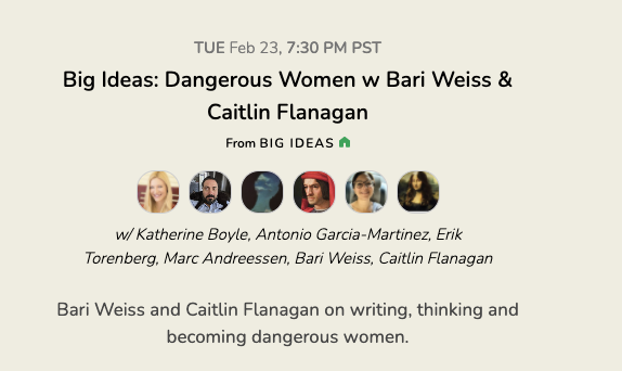 DANGEROUS WOMEN!  @CaitlinPacific, @bariweiss, @KTmBoyle, @pmarca, @eriktorenberg and me.   Some of my favorite people in one Clubhouse room.   Tuesday 730 PM. Not to be missed.