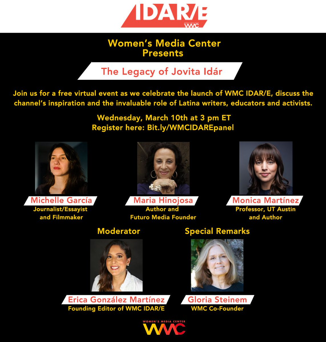 Join us in celebrating the launch of our new channel WMC IDAR/E, the inspiration behind it, and the invaluable role that Latina writers, educators and activists have and continue to play. Mark your calendars for this (free) event on March 10 at 3pm EST!