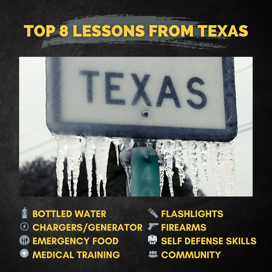 Top 8 Survival Lessons From Texas.  Some reflections on a couple of unexpected difficult days by Travis Joyner (LEO, BJJ Black Belt, and Sheepdog Instructor).  *Full post on our FB and IG Pages  #SheepdogResponse #HardToKill #AlwaysBeReady #TexasIceStorm #Preparedness