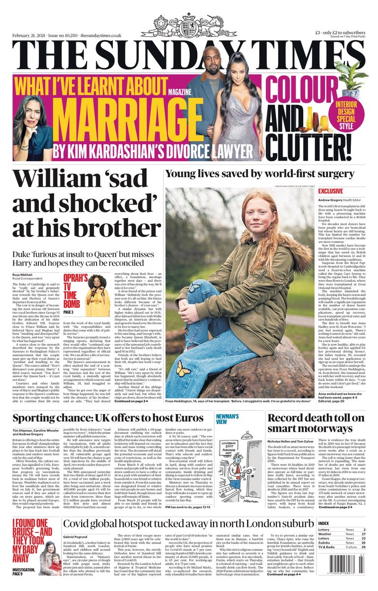 SUNDAY TIMES: William 'sad and shocked' at his brother #TomorrowsPapersToday