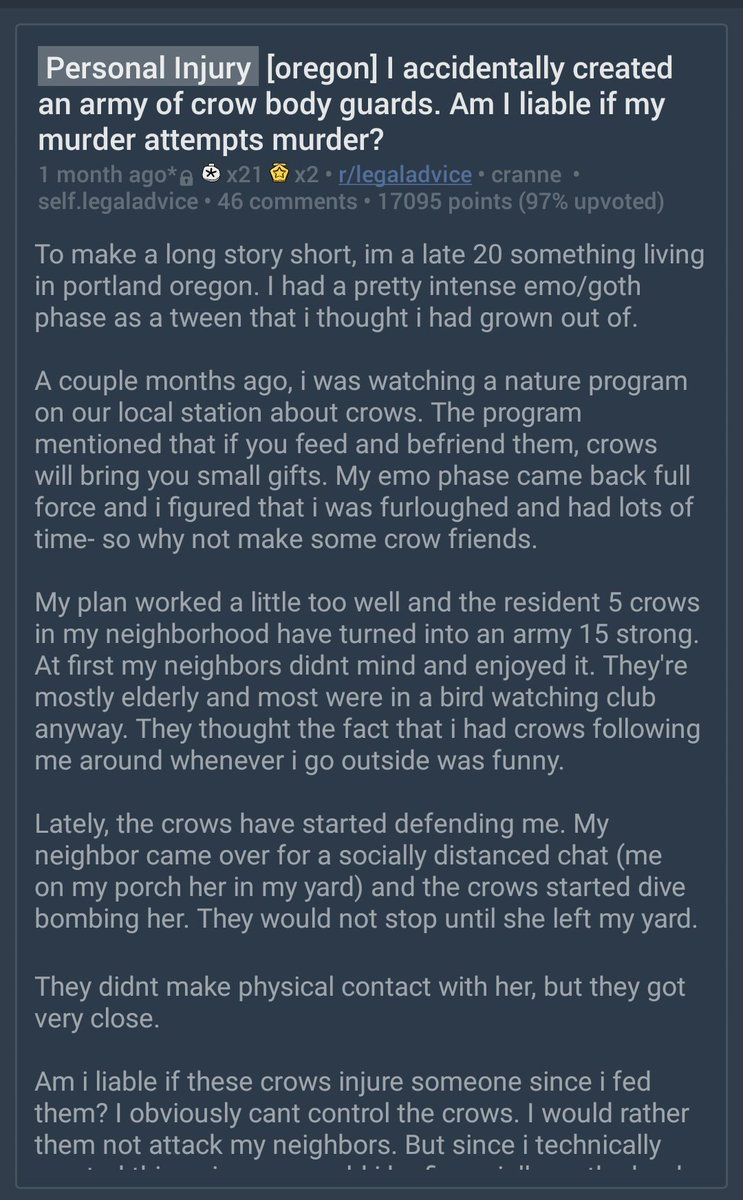 Replying to @Astro_Jonny: The Reddit crows story is the feel-good news we all need right now