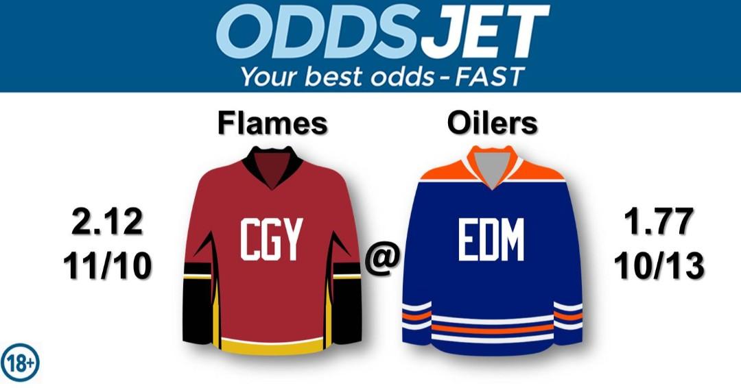 #NHL, #HockeyIsBack,   #Flames, #CofRed, #CalgaryFlames, #GoFlamesGo, vs. #LetsGoOilers, #Oilers, #EdmontonOilers, Get your best odds - fast at