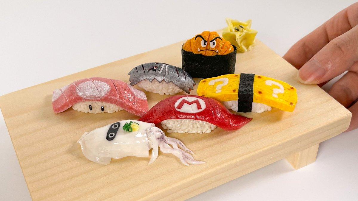 Replying to @nendo_snail: 樹脂粘土で、マリオなお寿司を作りました