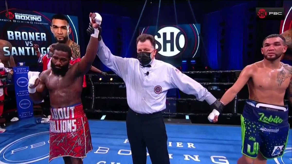.@AdrienBroner gets the victory in his return fight via unanimous decision. #BronerSantiago