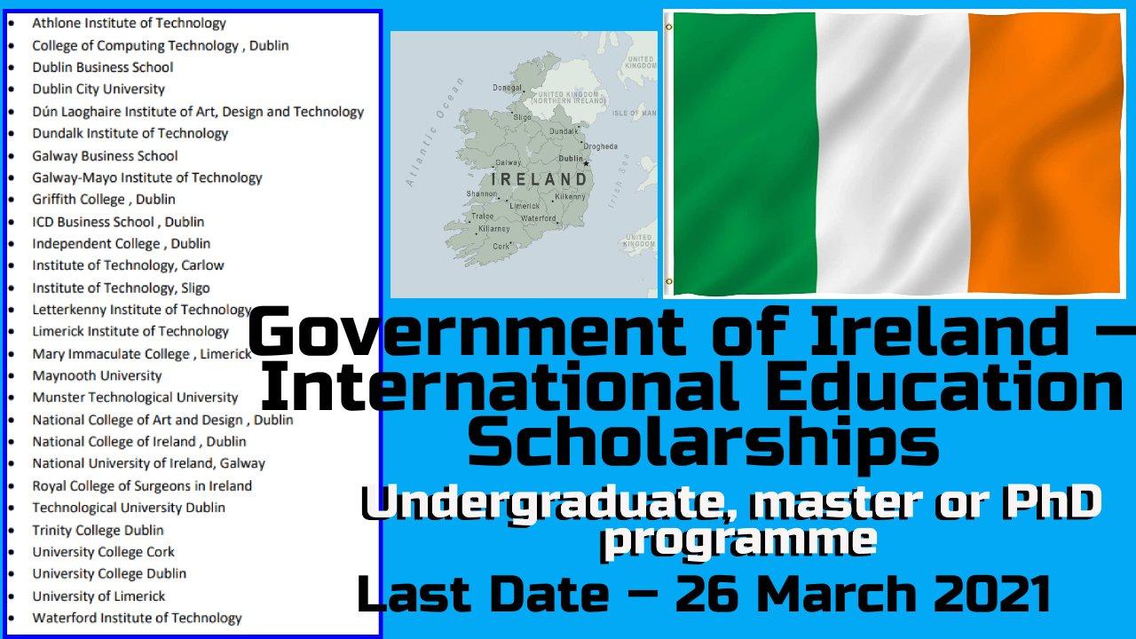 Government of Ireland – International Education Scholarships 2021 at Ireland