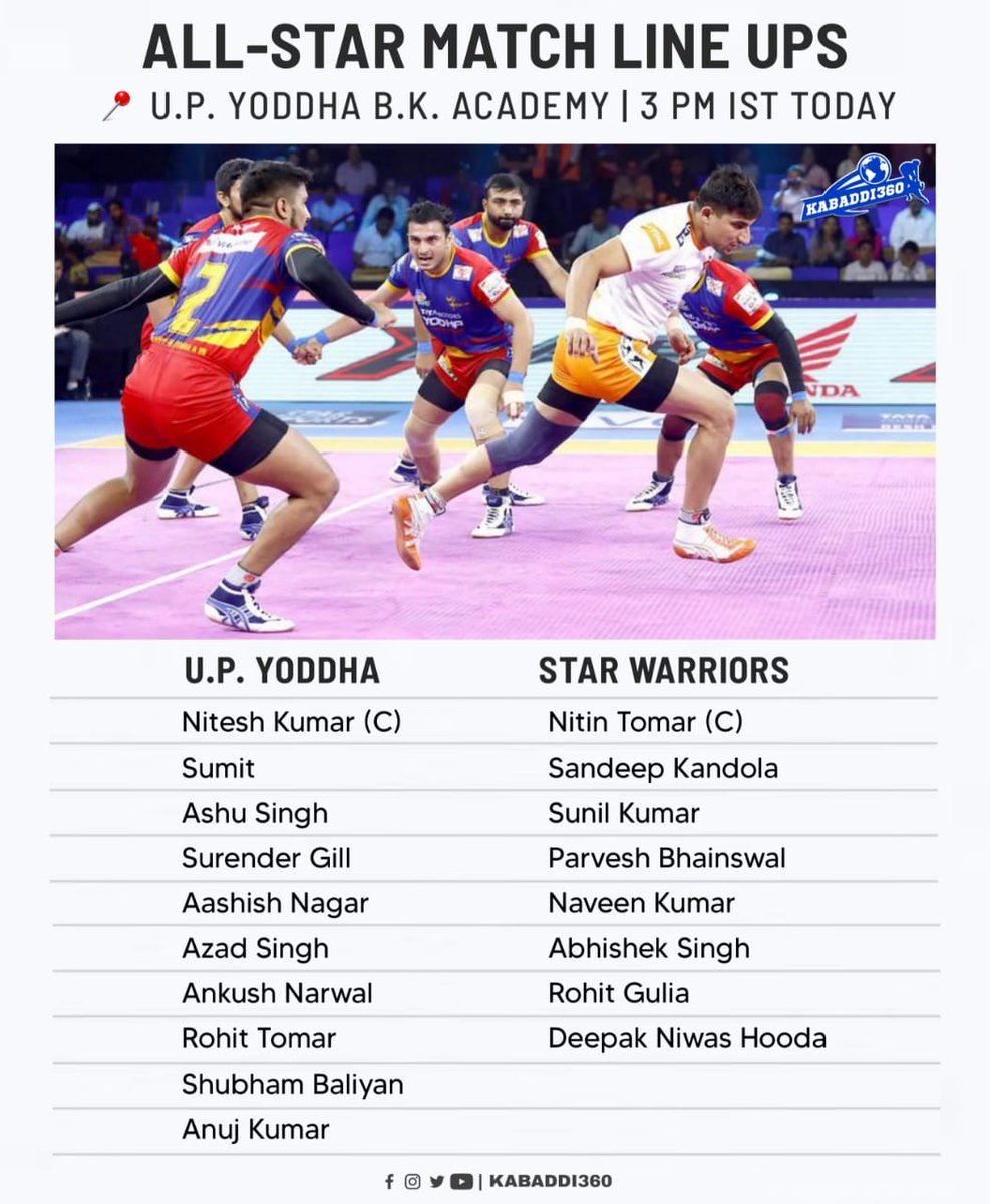 UP Yoddha vs. Star Warriors to take place in UP Yoddha B.K. Academy today 🎉 Which team are you supporting?   #AllStarMatch #UPYoddha #StarWarriors #Kabaddi360