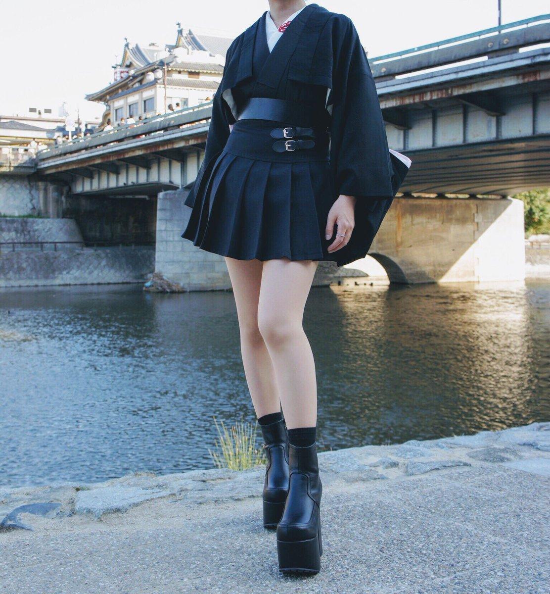 スカートと意外と合う?現代風ブラック着物コーデ!