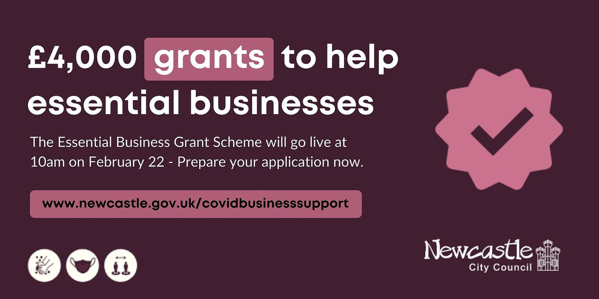 Are you ready? Applications for grants of £4,000 to help #Newcastles essential businesses open at 10am tomorrow (Feb 22). Funding is limited to a total of £500,000, and is first come, first served, so if you are eligible, get ready now & apply asap - orlo.uk/c02vX