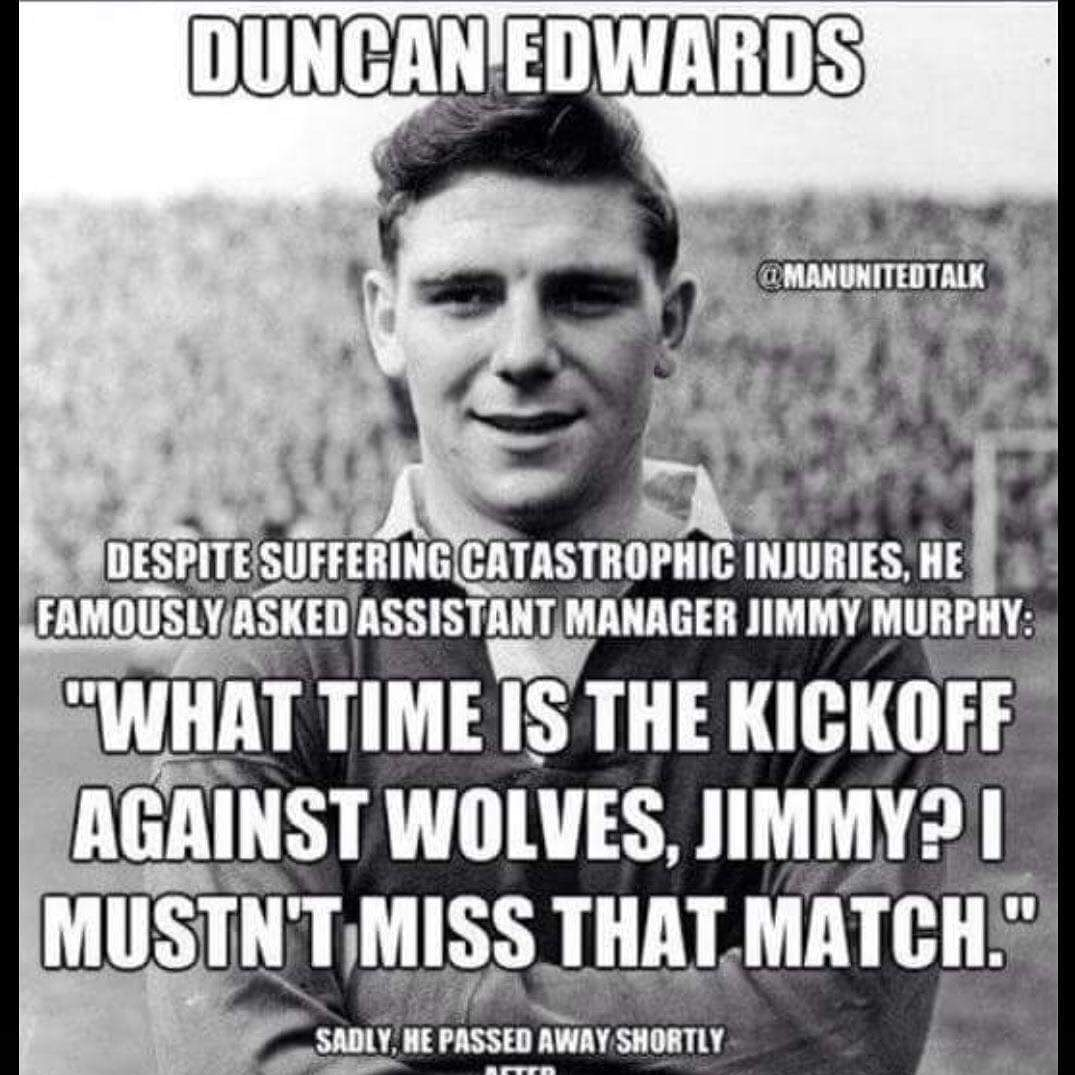 Gone but never forgotten. 63 years ago today Duncan Edwards passed away from the injuries sustained in the Munich Air Crash R.I.P. #BUSBYBABES #FlowersOfManchester