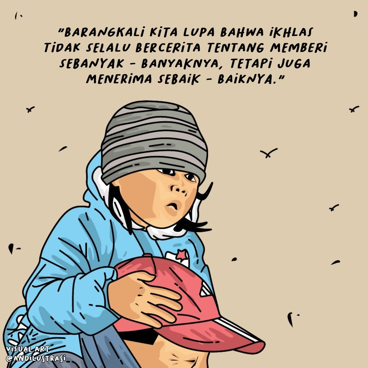 Ikhlas . . . #andilustrasi #illustration #seniman #art #masakecil #generasi90an #gambarkartun #karyavisual #kartunmuslimah #masakecilbahagia #selalubersyukur #vectorart #ilustrasikartun #ilustrasi #kartundakwah #quoteindonesia #quoteindo #senimankata #senimanindonesia #caknun