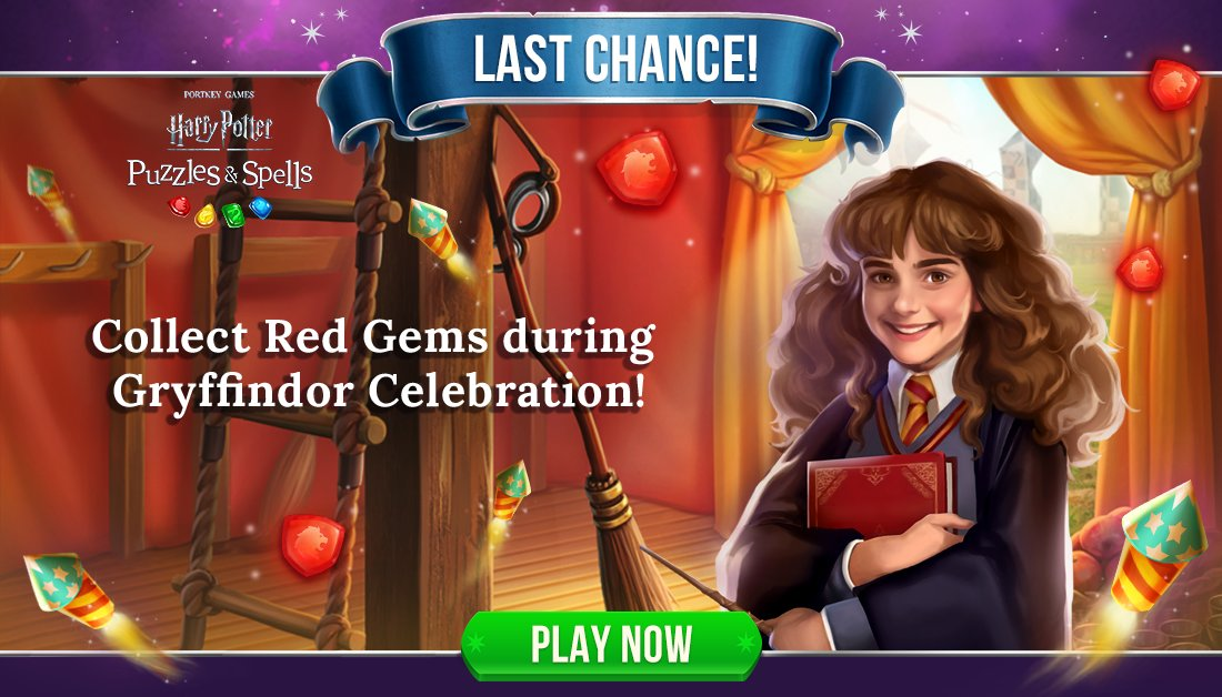 Still have gems to collect? Receive a multiplier for completing puzzles on your 1st or 2nd attempt. Event ends soon!  Play #GryffindorCelebration NOW ➡️   #HarryPotterPuzzlesAndSpells #Match3  #Gryffindor #HermioneGranger