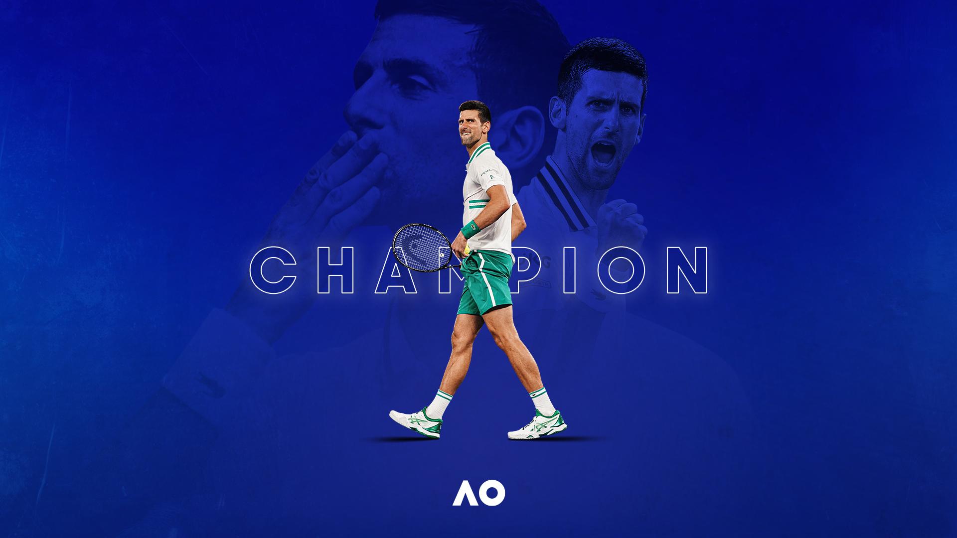 Graphic of Novak Djokovic, the 2021 Australian Open Men's Singles champion.