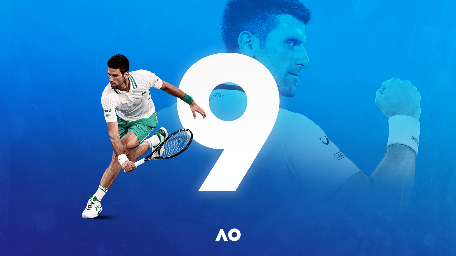 Graphic of Novak Djokovic winning his 9th Australian Open title.