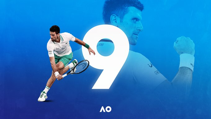 Graphic of Novak Djokovic winning his 9th Australian Open title.