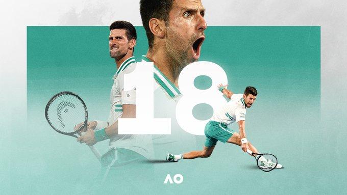 Graphic of Novak Djokovic winning his 18th Grand Slam title.