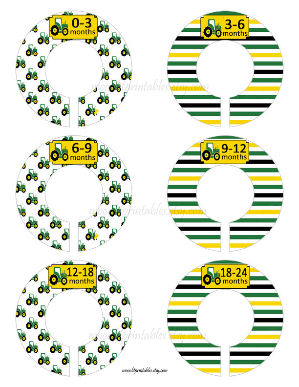 6 Baby Closet Dividers, Tractor Closet Organizers, Tractor Dividers, Green and Yellow, Custom Baby Closet, Clothes Organizers Tractors #627C  #MoonLitPrintables #PregnancyWeeks #Etsy #PregnancyStickers #GreenAndYellow