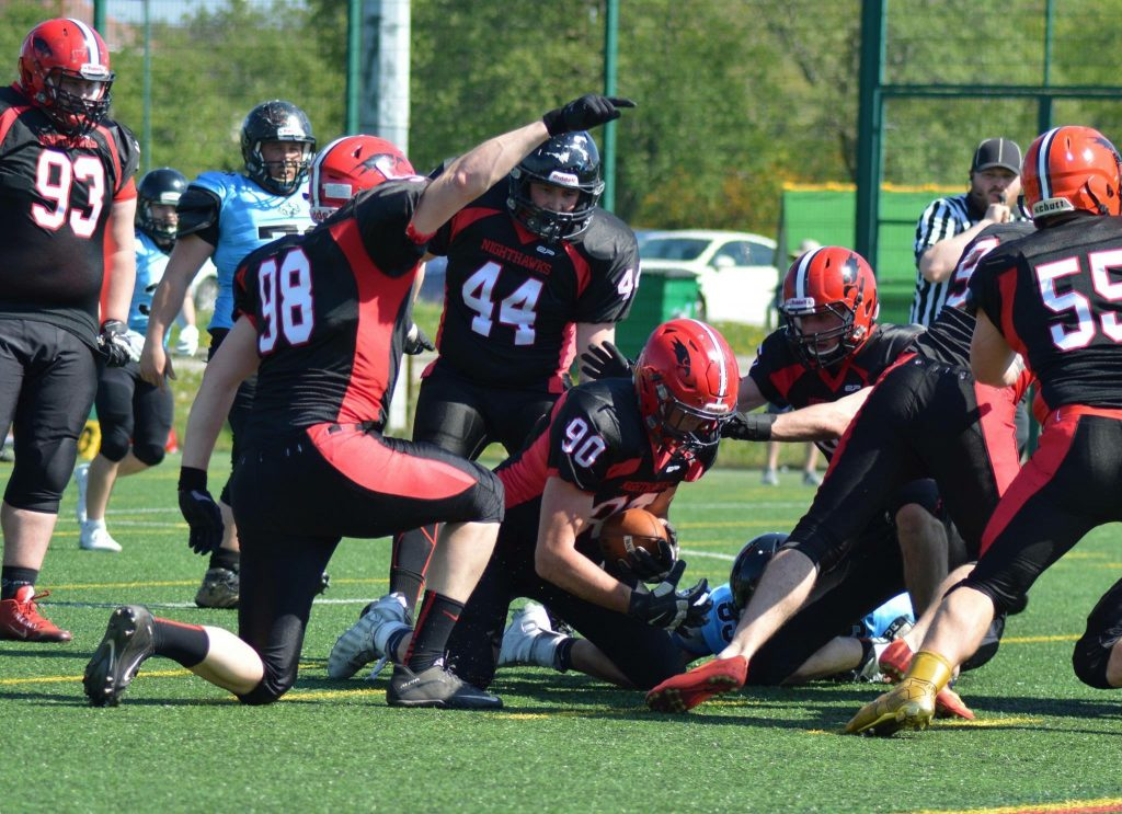 #tbt to 2017 against @SheffGiantFball A fumble recovery! Look at how many Nighthawks lids are around the ball!  #americanfootball #football #nfl #sports #collegefootball
