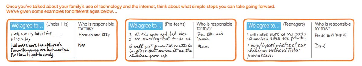 A family agreement is a great way to start a conversation with your whole family about how you all use the internet, and how to behave positively online. You can use our template t start creating yours today: