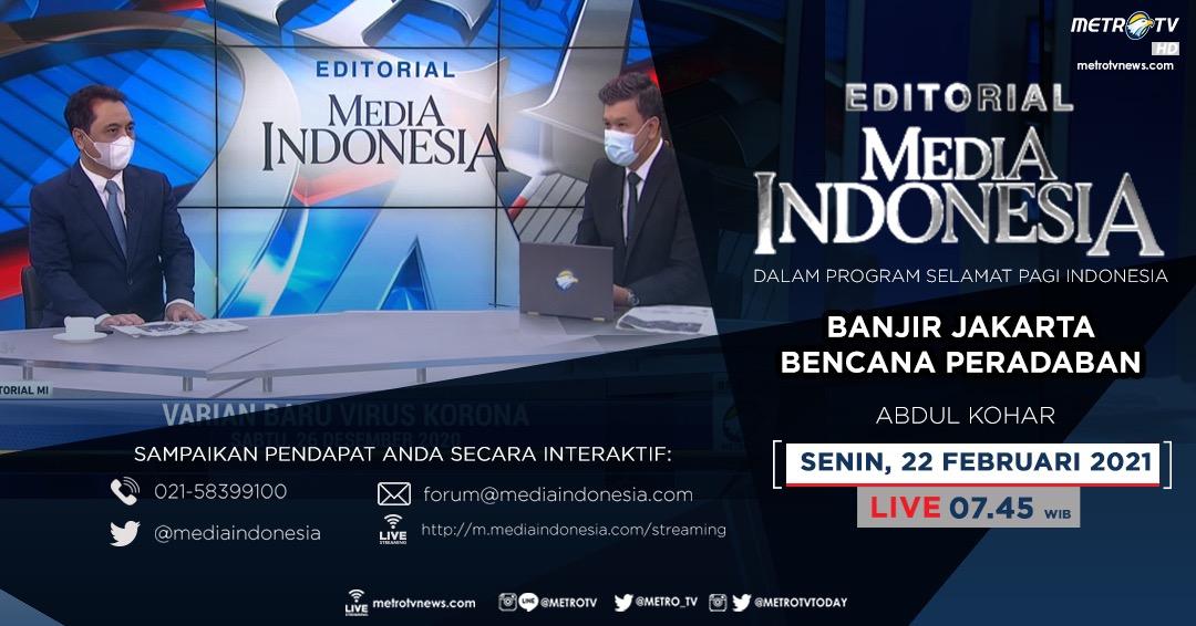 #EditorialMediaIndonesia hari Senin (22/2) LIVE pukul 07.45 WIB dalam program #SPIMetroTV akan membahas hujan ekstrem yang diiringi meluapnya sungai-sungai membuat sebagian Jabodetabek terendam banjir, bersama pembedah Abdul Kohar.  #banjirjakarta #infobanjir #mediaindonesia