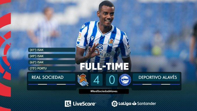 HasiL Real Sociedad 4-0 vs Deportivo Alaves