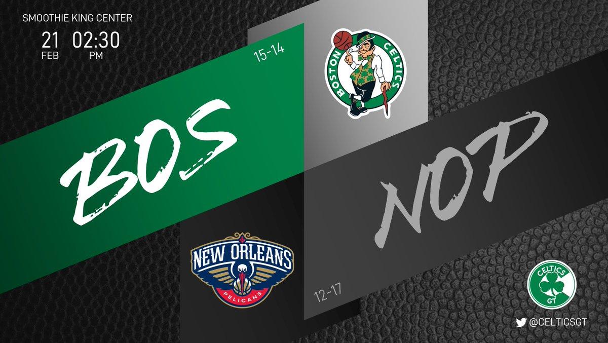 Usualmente los juegos del inicio de la tarde son malos para los Celtics. Esperemos que el hecho que sea televisado ayude a que no hagan un mal papel.  ☘ Celtics (15-14) ⚜ Pelicans (12-17) ⏰ 02:30PM  #WholeNewGame #Celtics https://t.co/r6L0c7Yxcq