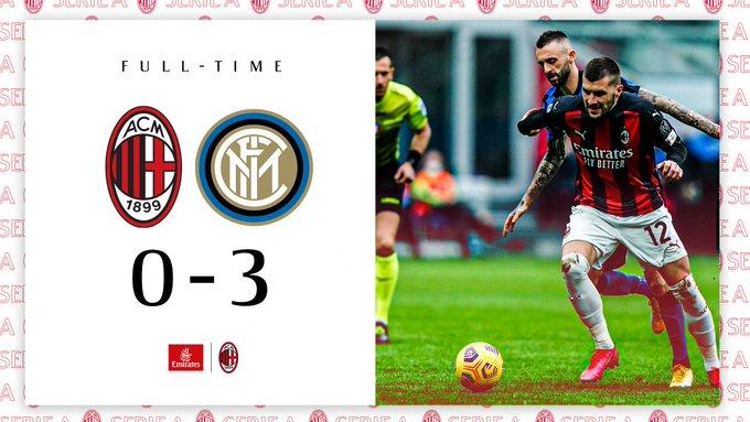 Hasil akhir AC Milan 0-3 Inter Milan