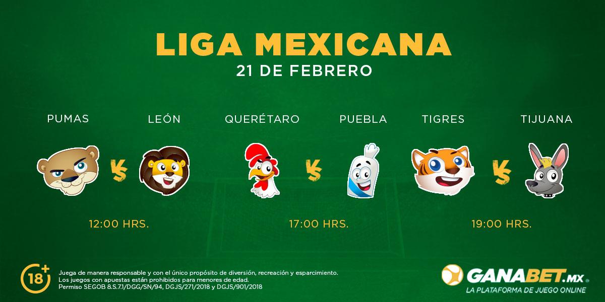 ¡Gran domingo de Futbol Mexicano! Duelo de felinos: Pumas se enfrenta a León, mientras que Querétaro se mide ante Puebla y Tigres vuelve a casa jugando contra Tijuana, ¿con qué duelo te la jugarías? ❤️⚽🥅 #LigaMX #JuegatelaConGanabet https://t.co/Pd7QqOs7I3