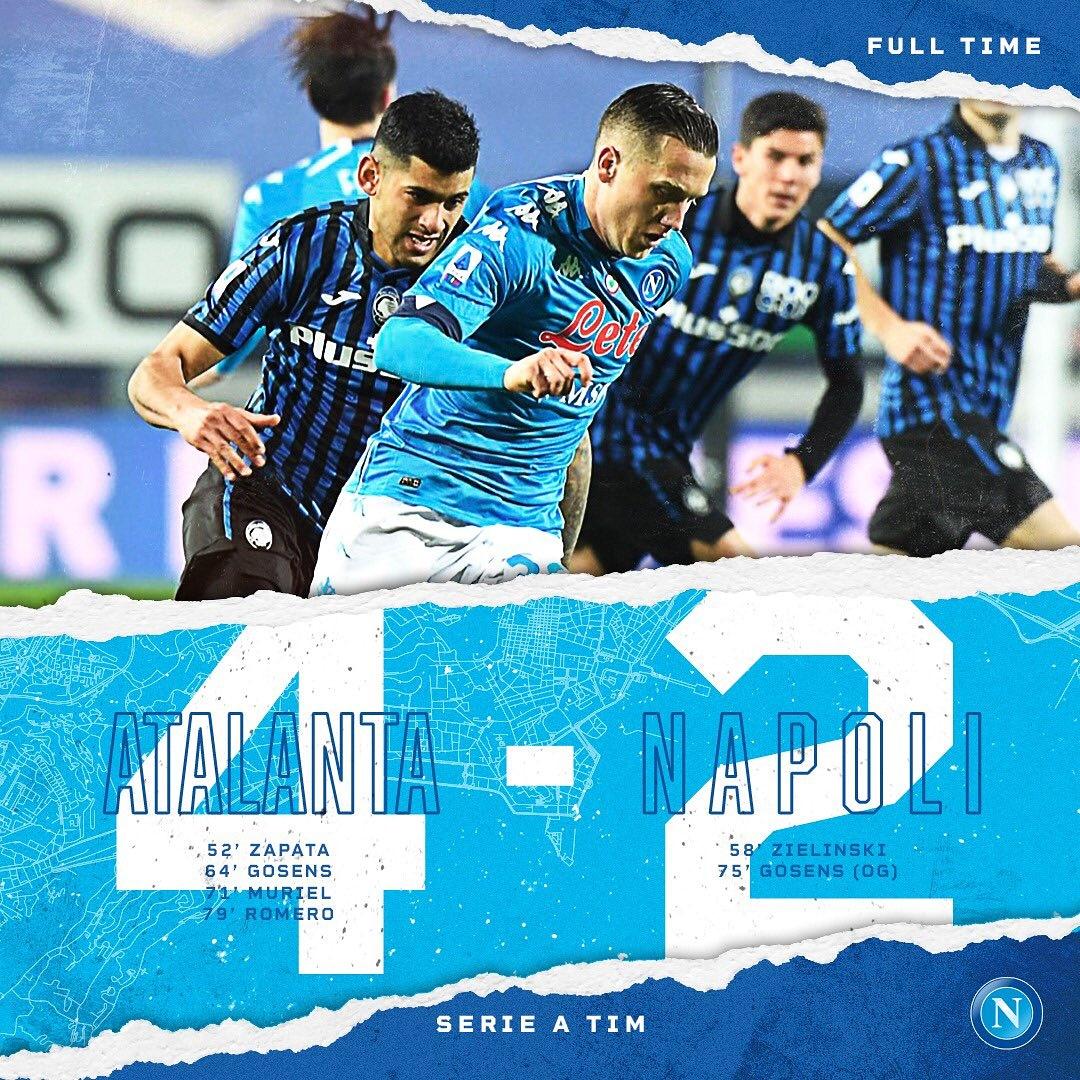 È FINITA   #Atalanta vs #Napoli  4-2 Goals  #CristianRomero  79' #RobinGosens  75' (GEC) /64' #LuisMuriel  71' #PiotrZieliński  58' #DuvánZapata  52'  #ABCvsNAP #SerieATIM  #StadioAtletiAzzurriDItalia  #ForzaNapoliSempre https://t.co/A3muvrQ6BA