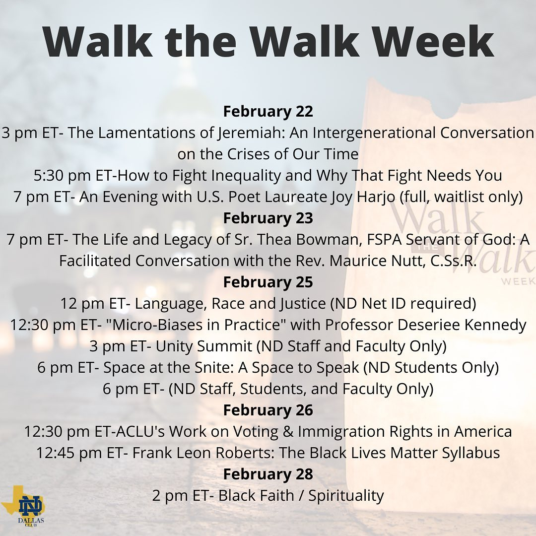 #walkthewalk week at ND begins this week. This 6️⃣th annual campus-wide observance of #mlkday was pushed back this year to accommodate the students' schedule. Please consider joining a lecture this week at…  📸  via