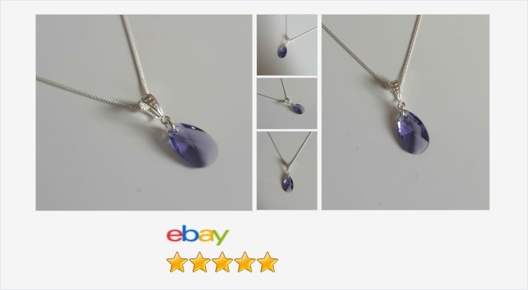 New 925 Sterling Silver and Swarovski Tanzanite crystal 16mm Pear Drop Necklace | eBay #sterlingsilver #tanzanite #purple #swarovski #crystal #peardrop #pendant #necklace #handmade #jewellery #gifts #giftideas #giftsforher #beauty #accessories #jewelry ebay.co.uk/itm/3131339385…