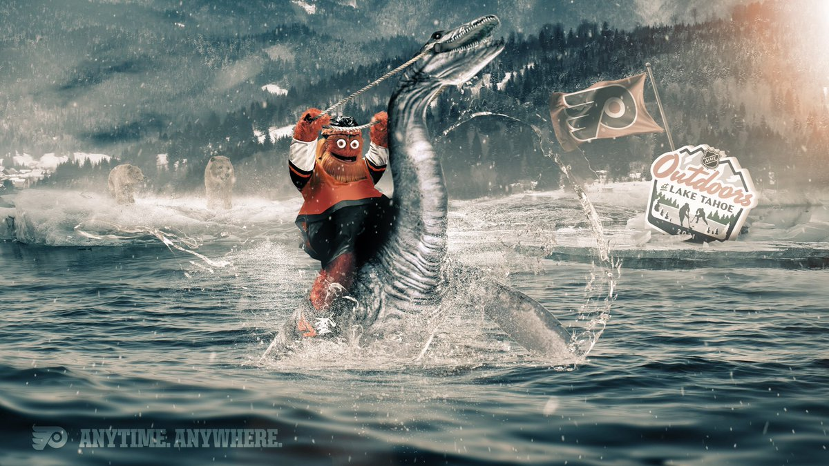 Replying to @NHLFlyers: By air, land and water, only two mythical creatures own Lake Tahoe.  #NHLOutdoors   @GrittyNHL