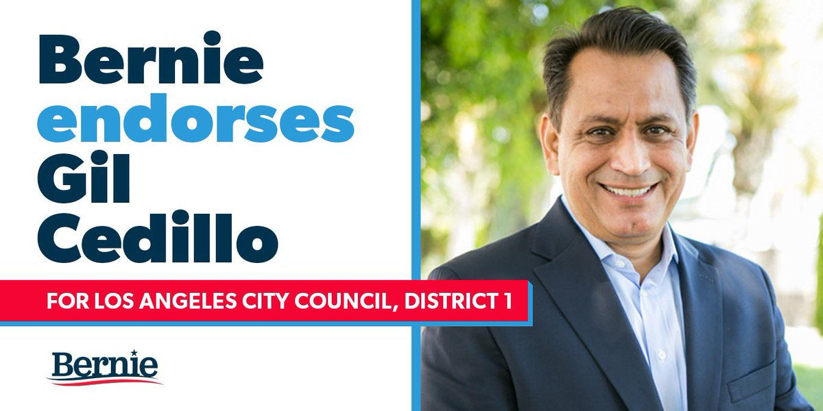I'm proud to support @gilcedillo's campaign for reelection to the City Council. He knows that working people built Los Angeles, and he fights every day to make sure their voices are heard over the concerns of the wealthy and the powerful.
