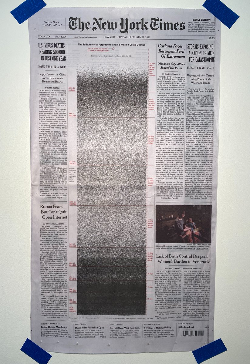 I just taped the NYT front page to my wall.    Some of 500,000 dots represent my patients who died during this pandemic. https://t.co/3LPixq9mRs