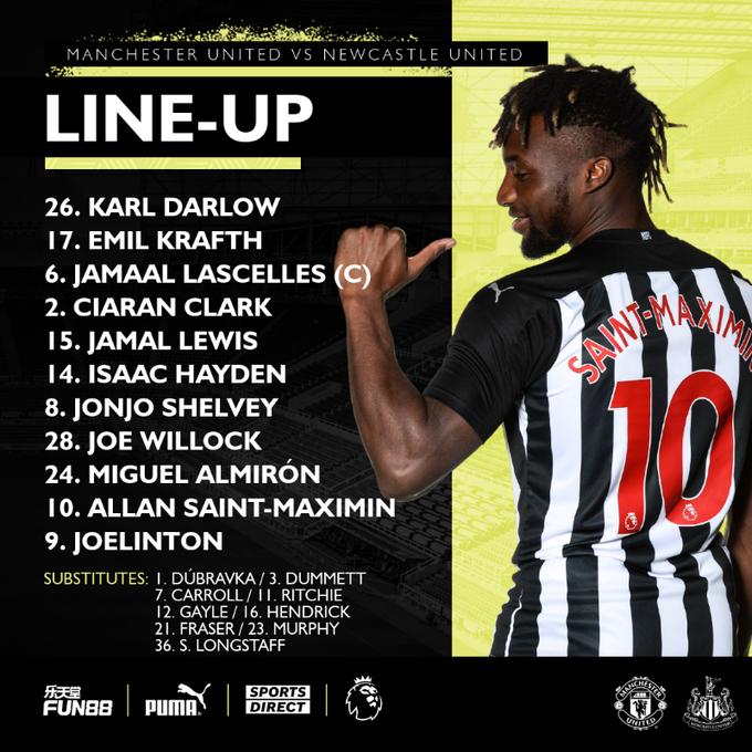 Essa é a escalação do Newcastle United para a partida de hoje. Joelinton entra no lugar de Dwight Gayle.  O duelo contra o Manchester United começa às 16h, com transmissão pela ESPN Brasil. https://t.co/Gy0yb1Jr3J