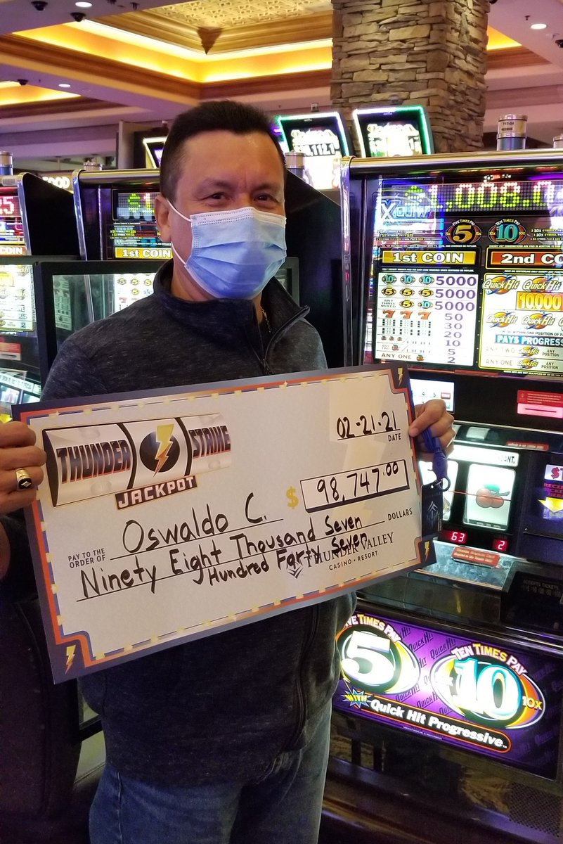 Thunder could be heard earlier this morning for Oswaldo when he took home a $98,747 jackpot on Quick Hit! 🎉 💰 🎰 🤑