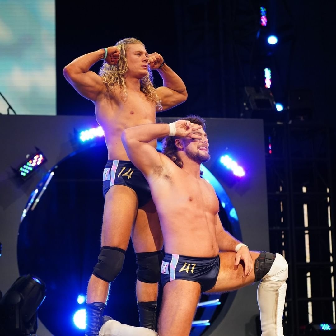 The sexy @FlyinBrianJr & @griffgarrison1: ✅ Beautiful hair looks: ✅ Awesome wrestling trunks: ✅ Varsity Blonds on #AEWDark & #AEWDynamite this week: ✅  Catch Brian & Griff in both matches this week on YouTube and TNT! Give them a follow! Can I be friends with them? We'll see!