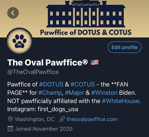 "Their bio clearly states ""Not pawfficially affiliated with the #WhiteHouse"". https://t.co/irfrGkSQFt"