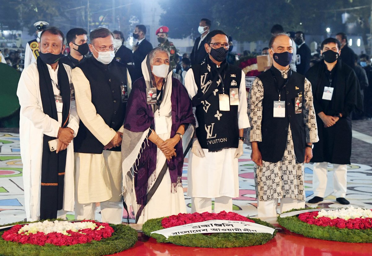 #AmarEkushe: Central leaders of #Bangladesh Awami League paid their homage, on behalf of the entire party, to the #martyrs of the #LanguageMovement at Central Shaheed Minar, #Dhaka on the occasion of #MartyrsDay and Int'l #MotherLanguage Day.  #IMLD #IML…