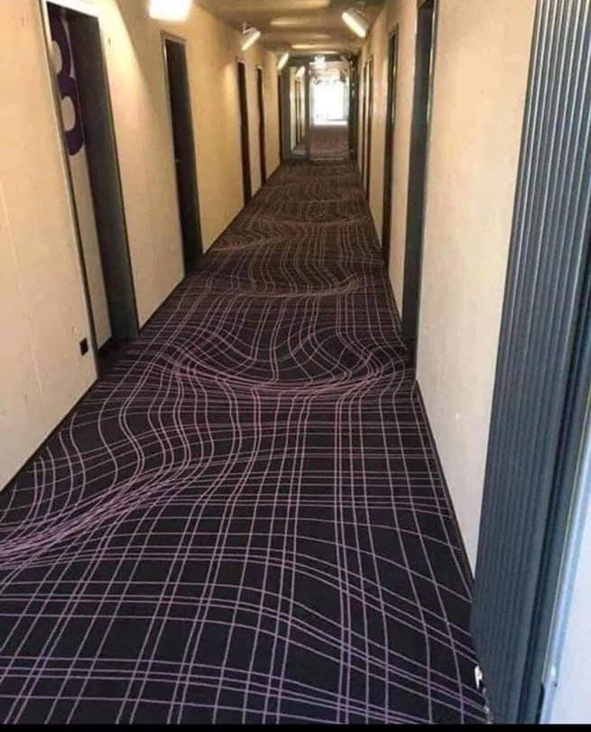 A hotel in Germany uses 3D carpets to keep guests from running in the hallway. How absolutely Brilliant.