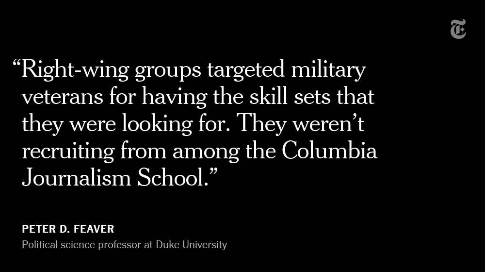 Although people with extremist ideologies represent a small fraction of military veterans, far-right organizations heavily recruit them because of their skills, said Peter D. Feaver, a political science professor at Duke University.