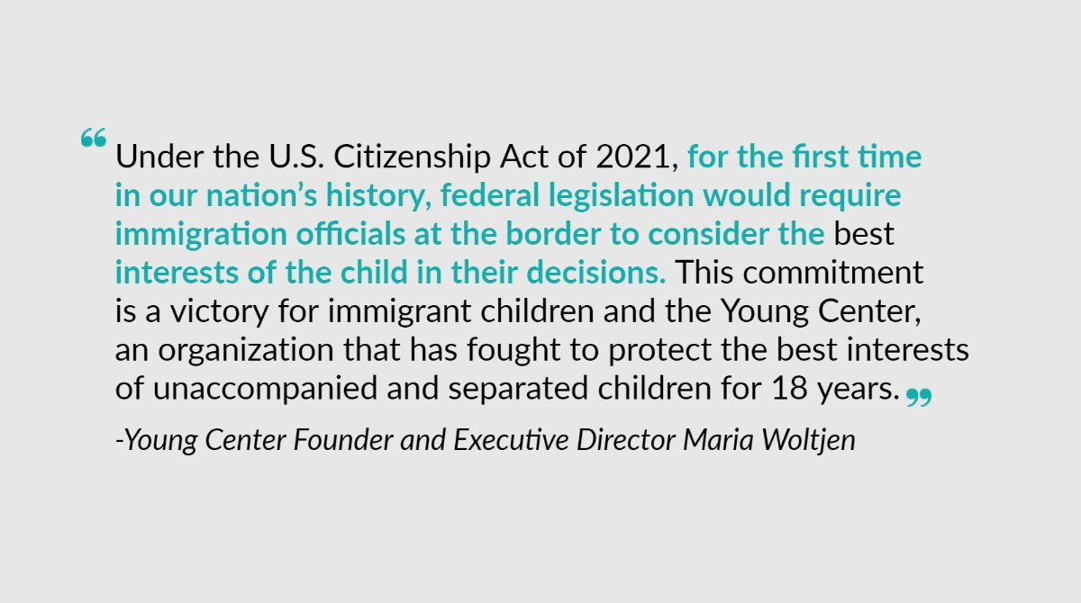 For 18 years, we've championed the best interests of immigrant children. Seeing this proposed change to our immigration system under the Biden admin's U.S. Citizenship Act of 2021 is a major victory for children and for us. Thank you for helping us fight for children's rights!