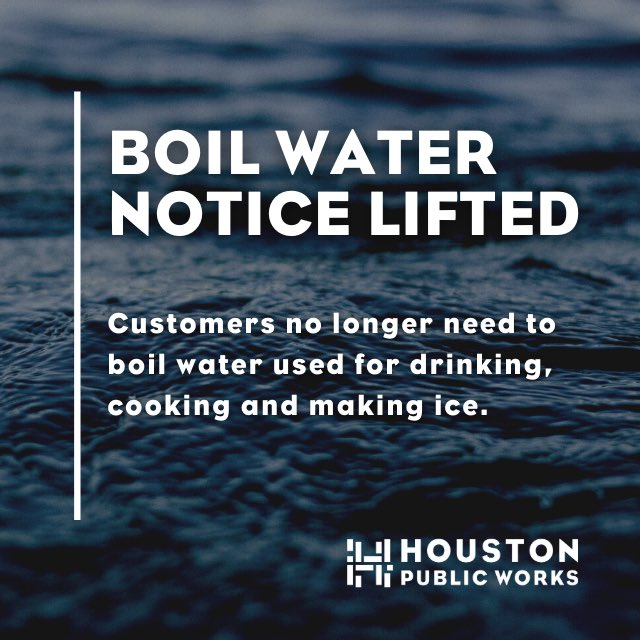 💧BOIL WATER NOTICE LIFTED💧  #HouWater customers no longer need to boil water used for drinking, cooking and making ice. More details: