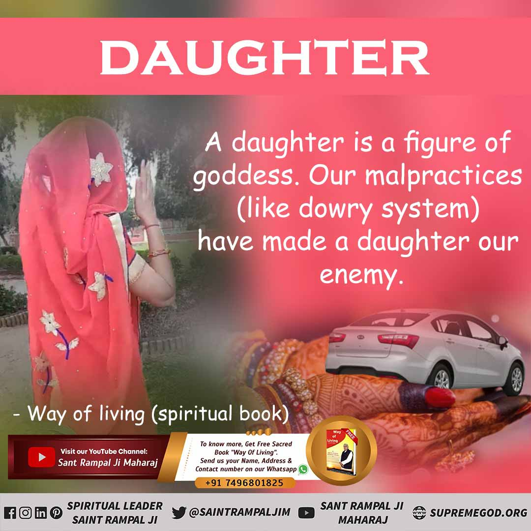 #mondaythoughts A daughter is a figure of goddess. Our Malpractices have made a daughter our enemy.  To Know More Visit Satlok Ashram YouTube channel.