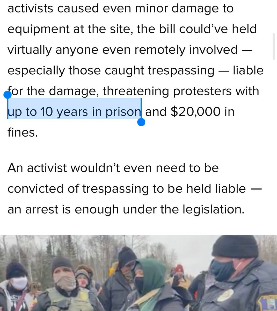 """In the U.S., the oil industry is exploiting the Capitol riots to push draconian 10-year prison sentences for protesters who target oil production sites.  """"Shock Doctrine"""" in action. @NaomiAKlein https://t.co/ag3YRNbQOJ"""