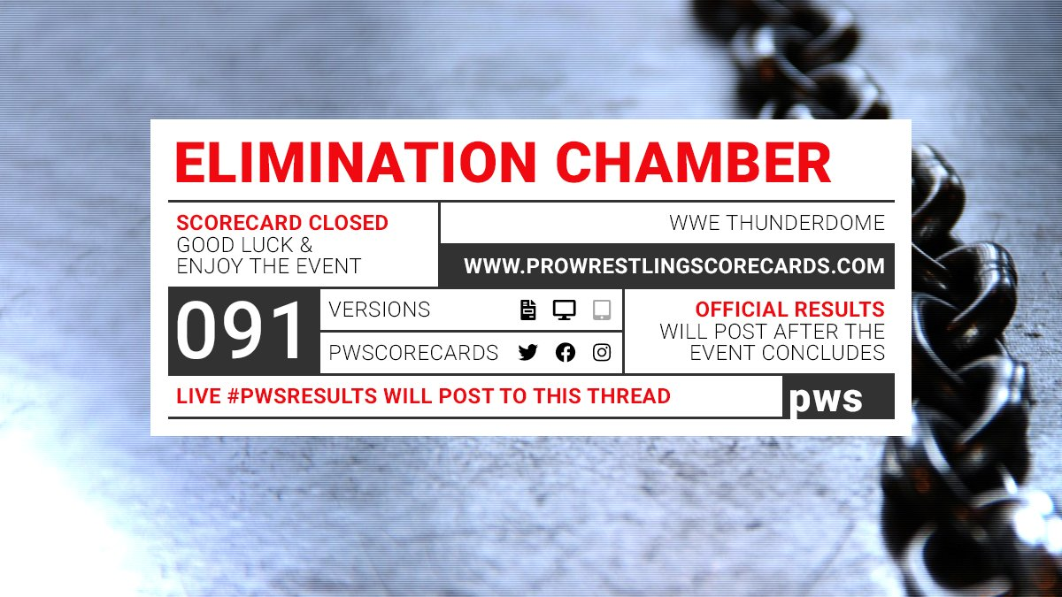#PWS results for the WWE Elimination Chamber  prediction scorecard will post to this thread at the conclusion of each match.  Use #PWSResults to join the conversation.  #WWE #Chamber #WWEChamber