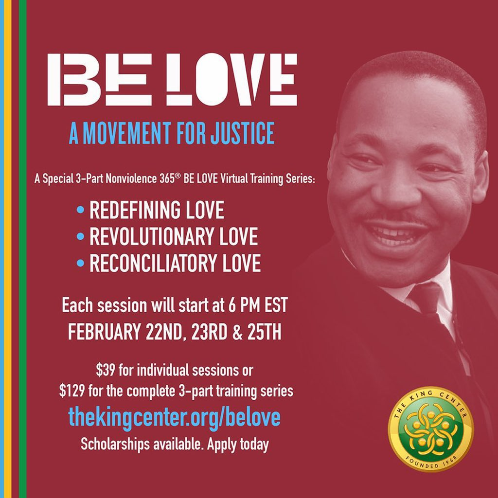 Starts TOMORROW. You can still REGISTER. SCHOLARSHIPS available. Let's #BeLOVE. Go to: . #BelovedCommunity #MLK
