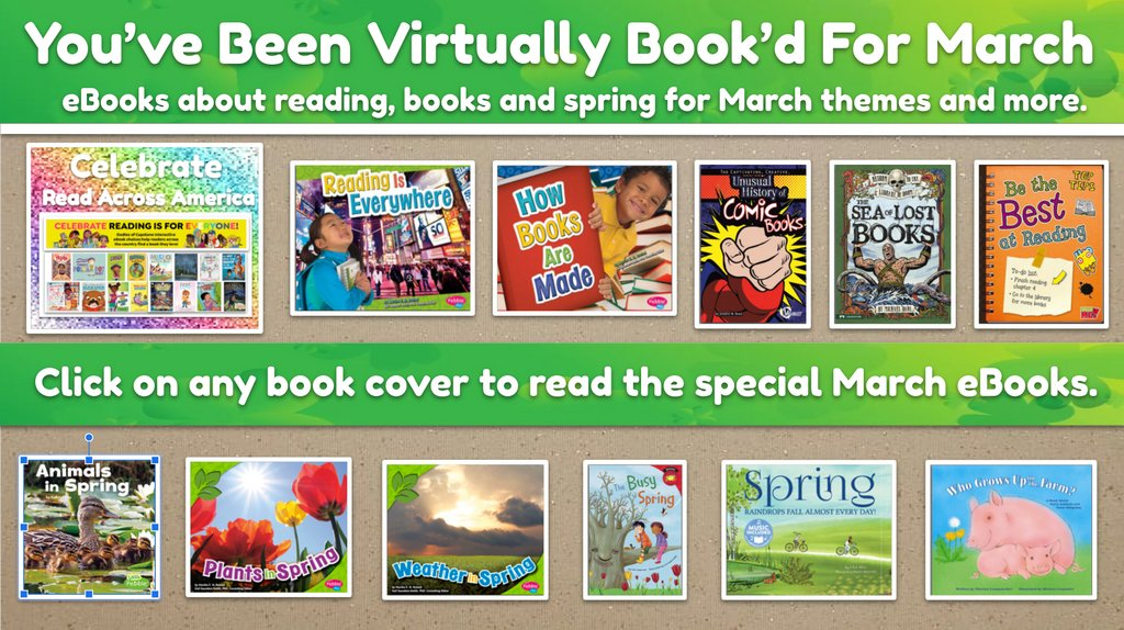 """To bring together & share special eBooks each month I kicked off our """"You've Been VIRTUALLY Book'd"""" program this year using @CapstonePub Connect.   This is perfect for readers at school & home. 🎉    #eBooks #books #futurereadylibs #tlchat #edchat #vanmeter"""