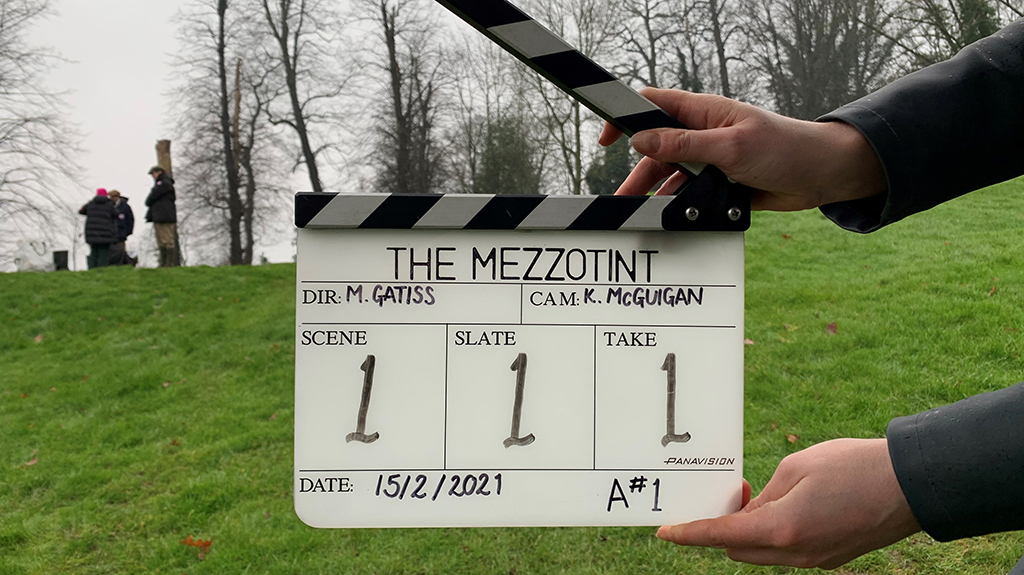 """For sale: Interesting mezzotint: View of a manor-house, early part of last century."""" @MarkGatiss brings M. R. James #TheMezzotint to @BBCTwo and @BBCiPlayer for a chilling Christmas tale: bbc.in/3aBTTxn"""