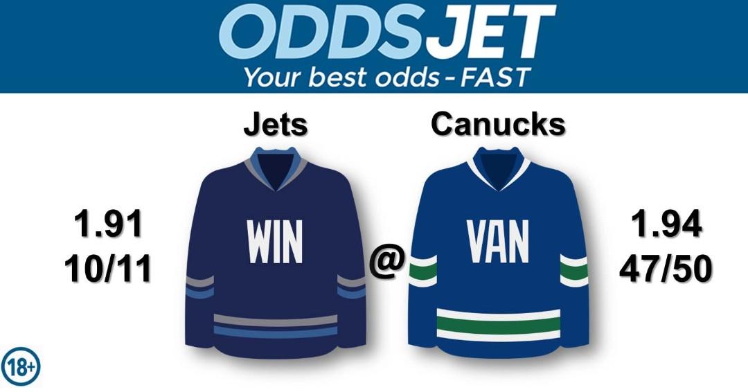 #NHL, #HockeyIsBack,   #GOJetsGO, #WPGJets, #NHLJets, #WinnipegJets, vs. #VanCanucks, #GoCanucks, #Canucks, #VancouverCanucks, Get your best odds - fast at